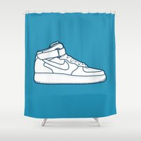 nike Shower Curtains featuring #13 Nike Airforce 1 by Brownjames Prints