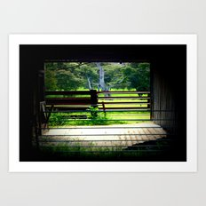 Looking through a cattle Shed Art Print