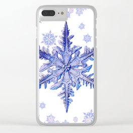 DECORATIVE PURPLE TINTED SNOWFLAKES ON  WHITE Clear iPhone Case