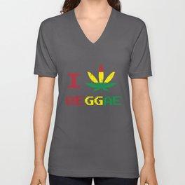 I Love Reggae Jamaica Jah Gift Unisex V-Neck