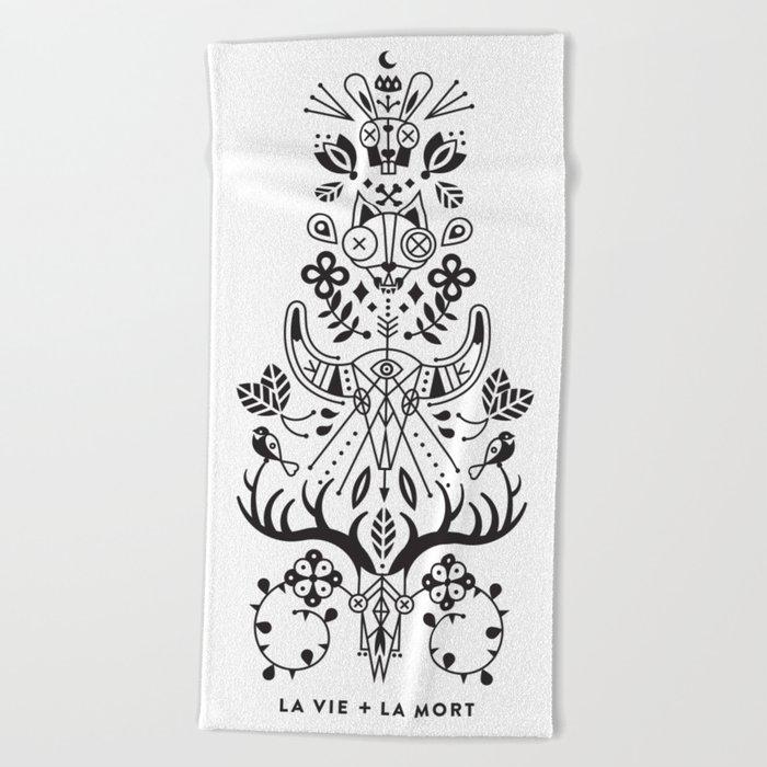 La Vie + La Mort: Black Ink Beach Towel