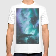 Aurora Borealis III MEDIUM White Mens Fitted Tee
