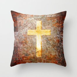 Gold Cross on Rusted Metal Plate Throw Pillow