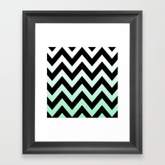 BLACK CHEVRON MINT FADE Framed Art Print