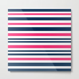 Horizontal , striped , pink , blue , white Metal Print