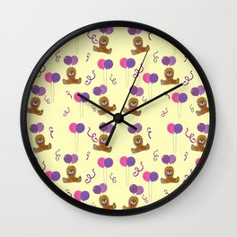 Teddy for girls with balloons Wall Clock