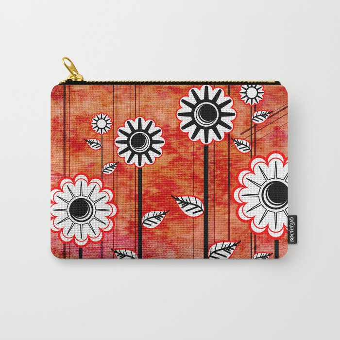 Retro Flowers on textured red Carry-All Pouch