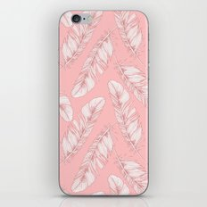 White feathers on a pink background iPhone & iPod Skin