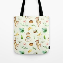 Tropical hand painted floral monkeys coconut pattern Tote Bag
