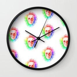 Skulls Rainbow Colorful life Wall Clock