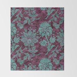Burgundy Turquoise Velvet Floral Pattern 05 Throw Blanket