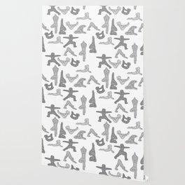 Grey Yoga Pattern Wallpaper