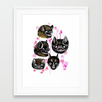 bats Framed Art Prints featuring bats by Krissy Mmmm