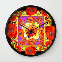 ABSTRACTED BLACK ORANGE-RED POPPIES  FLORAL PATTERNS Wall Clock