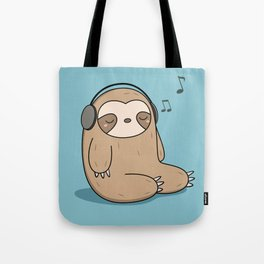 Kawaii Cute Sloth Listening To Music Tote Bag
