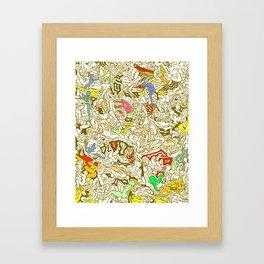 Kamasutra LOVE - Retro Yellow Framed Art Print