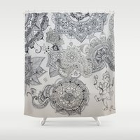 henna Shower Curtains featuring Henna Ganesh by Madeline Margaret