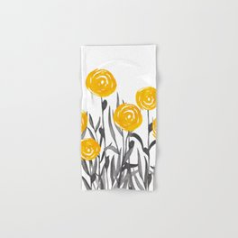 Fall Sunshine, Floral Watercolor Print, Yellow and Gray Hand & Bath Towel
