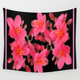 PINK FLOWER BLOSSOMS  BLACK SPRING ART Wall Tapestry