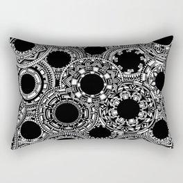 White & Black Mandala Circles Rectangular Pillow