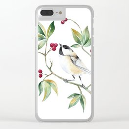 Chickadee on a tree! Clear iPhone Case