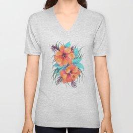 TROPICAL FLOWER {orange hibiscus}  Unisex V-Neck