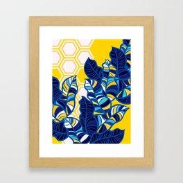 Geo Pop Foliage on Yellow & White Framed Art Print