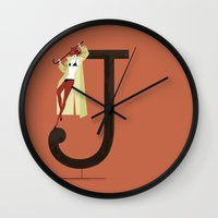 archer Wall Clocks featuring Jenny & Archer by ChicksAndType