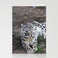 snow leopard Stationery Cards featuring Snow Leopard by Kaleena Kollmeier