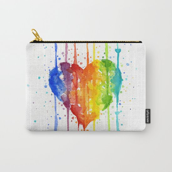Heart Rainbow Watercolor Love Wins Colorful Splatters Carry-All Pouch