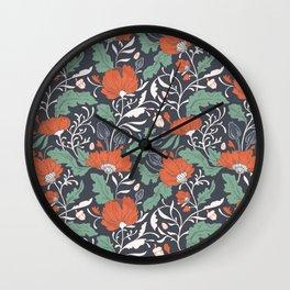 Autumn Poppy Floral Wall Clock