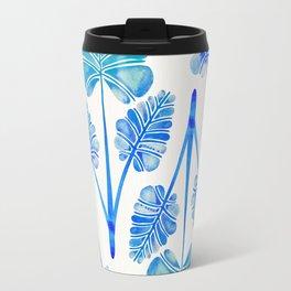 Tropical Palm Leaf Trifecta – Blue Ombré Palette Travel Mug
