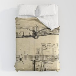 George Washington Bridge Construction Blueprint Comforters