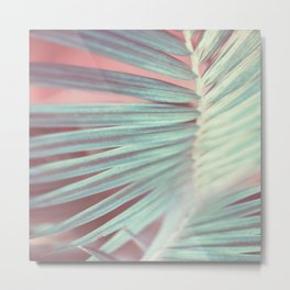 Tropical Leaf in Pink and Aqua Metal Print