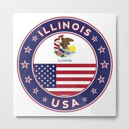 Illinois, Illinois t-shirt, Illinois sticker, circle, Illinois flag, white bg Metal Print