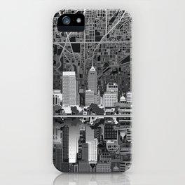 indianapolis city skyline black and white iPhone Case