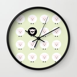 Black sheep and the grass playground Wall Clock