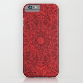 Black Mandala on Red Stains Background iPhone Case