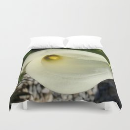 Overhead Shot of A Cream Calla Lily In Soft Focus Duvet Cover