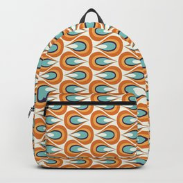 Retro Mid Century Modern Geometric Flame in Orange and Turquoise Backpack