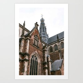 Saint Bavo Cathedral II in Haarlem from below | Iconic historical gothic architecture | Urban fine art print Art Print