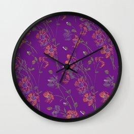 Poppy Floral - Purple Wall Clock