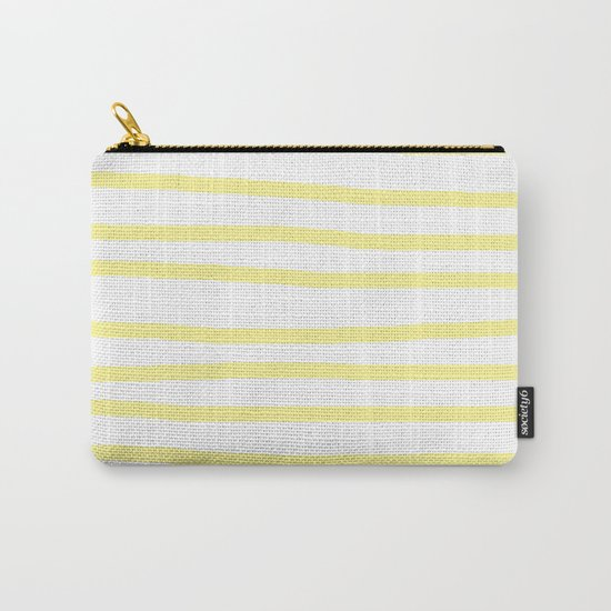 Simply Drawn Stripes in Pastel Yellow Carry-All Pouch