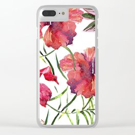 Tropical Background. watercolor tropical leaves and plants. Hand painted jungle greenery background Clear iPhone Case