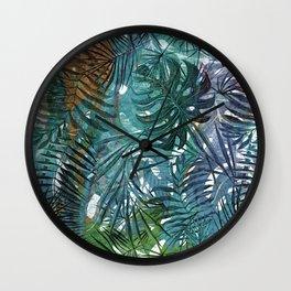 Aloha- Tropical Palm Leaves and Monstera Leaf Garden Wall Clock