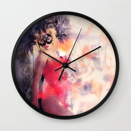 Painted Fan Dancer - Dressing Room Break Wall Clock