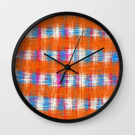 plaid pattern abstract texture in orange blue pink Wall Clock