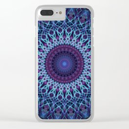 Mandala in dark and light blue tones Clear iPhone Case