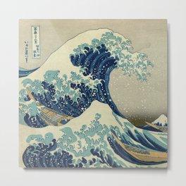 Illustration of blue japanese wave Metal Print