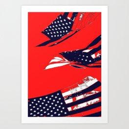 Dynamic Pop Painting of a waving American Flag Art Print